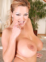 Hard Nipples, Seductive hot milf Sharon Pink pops out her massive boobs while slowly taking off her sexy thongs