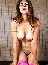 Nipple, Busty Anilos cougar strips off her lingerie and explores her hot milf pussy with her fingers