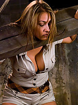 Fetish Pics: Busty tan blond, bound, tormented, and foced to cum!