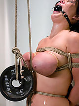 Kink Pics: Huge Tits tied up and abused! Naked shaved slut punished.