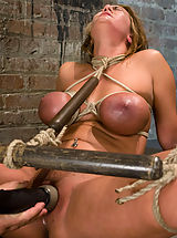 Pregnancy Nipples, Huge titted blond, bound, punished and force to cum!