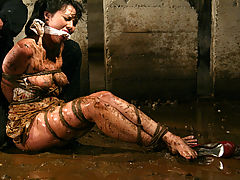 Areola Nipple, Petite brunette is bound and abused in an underground dungeon