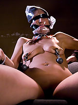Huge Areola, Sexy shaved girl, bound and foced to cum in dirty rundown room.