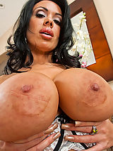 Black Nipples, Sienna West big busty brunette sucks big cock and takes pounding from guy.