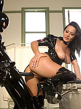 big erect nipples, Sandra Romain plays kinky medical games with her latex fuck slave