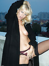 Milf Nippels, Anilos milf merilyn is quite the exhibitionist as she flashes her well groomed snatch outdoors