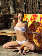 maddy oreilly in forest with wet panties and wet bikini