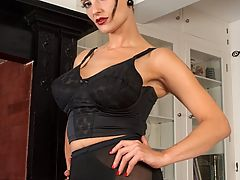 Val striptease and plays in longline bra, vintage nylons and girdle!