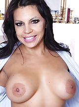 Puffy Nipples, Big Busted Latin office wife Eva Salizar undresses on the desk.
