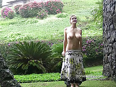 Outdoors Vids: Danielle gets naked and plays in the rain