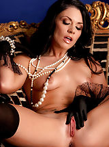 nipples hard and sore, Andy San Dimas is fine n' dandy in pearls, stockings and heels and nothing else!