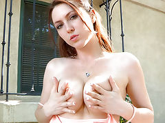 naked girls, Meghan masturbates outside