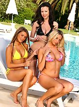 Sexy Bikini, Stevie, Carole and Gemma Massey relax by the pool in their bikinis.