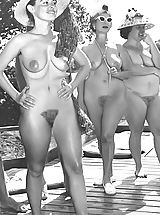 [Spintax1], Bigger Groups of Naked People at Naturist Camps - Hot Naked Women with Big Tits & Hairy Vaginas Pose Undressed