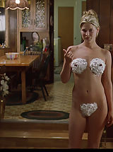 Average Size Nipple, Ali Larter shows her seductive nude human anatomy covered in whipped cream