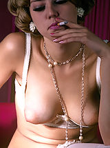Vintage Nippels, Cute retro smoking girl having a sex fantasy