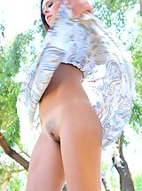 Upskirt Pics: Cassidy flashes her tits outdoors