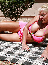 Bikinis, Anilos blonde Cala Craves loves to caress her cock craving hairy pussy while she sunbathes outdoors
