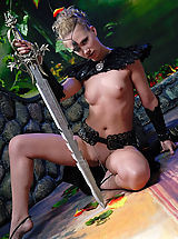 Naked True Beauty, Naked knight babe with the huge steel sword