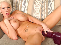 Nipples Vids: Kasey inserting a very big brutal dildo!