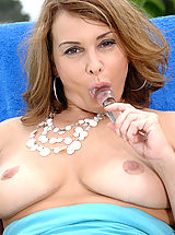 Anilos Nippels, Anilos housewife moistens her glass toy and fucks her pink pussy outdoors