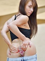 Sinful Female Anyah Crystal Eyed Slim exposes her uncovered titties, pulls down her under garments and opens her legs and hand fucks her tight twat