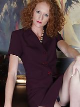 Milf Nippels, Small bosomed curly redhead Ande exposes her older slit.