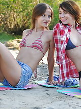 When love occurs there is no power what can stop it. Amazing looking teen babes having great fun on the shore under the sun.
