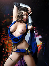 Naked True Beauty, Busty brunette warrior babe taking off her blue dress