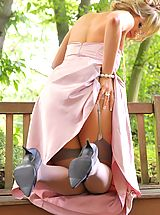 naked amateurs, The gorgeous Leah F in a lilac evening dress and grey stockings.