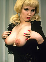 Large Areolas, Blonde girl with boobs and classy stockings
