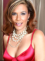 Naked Anilos, Glamorous cougar Victoria shows off her satin dress