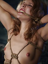 naked japanese, Curly petite blonde girl tied tight with ropes