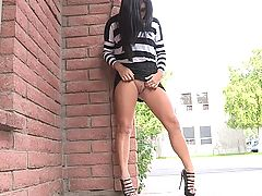 Puffy Nipples, Marletta upskirts outside