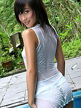 naked female, Asian Women lolita cheng 10 water pool wet shirt small tits