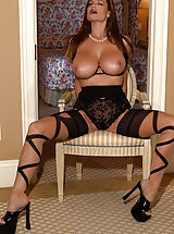 Yes, I got a little crazy and kinky and got out the wild hosiery. I know you men love juggs, but today, the juggs come with a little leg. I have always personally thought my legs were my best asset, but I have yet to be looked at below the bra line...
