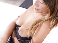 Perfect Nipples, Freckled beauty Eva Lovia dresses in lacy lingerie to seduce her man into a wild fuckfest in her landing strip pussy
