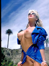Bikinis, One of the sexiest pornstars from the '80's Angela Baron shows off her sizzling curves poolside!